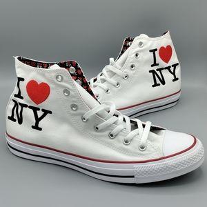 NEW Mens Converse CTAS Hi I Love ❤️ NY Sneakers
